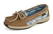 Women's Sunrise Plaid Print Boat Shoe
