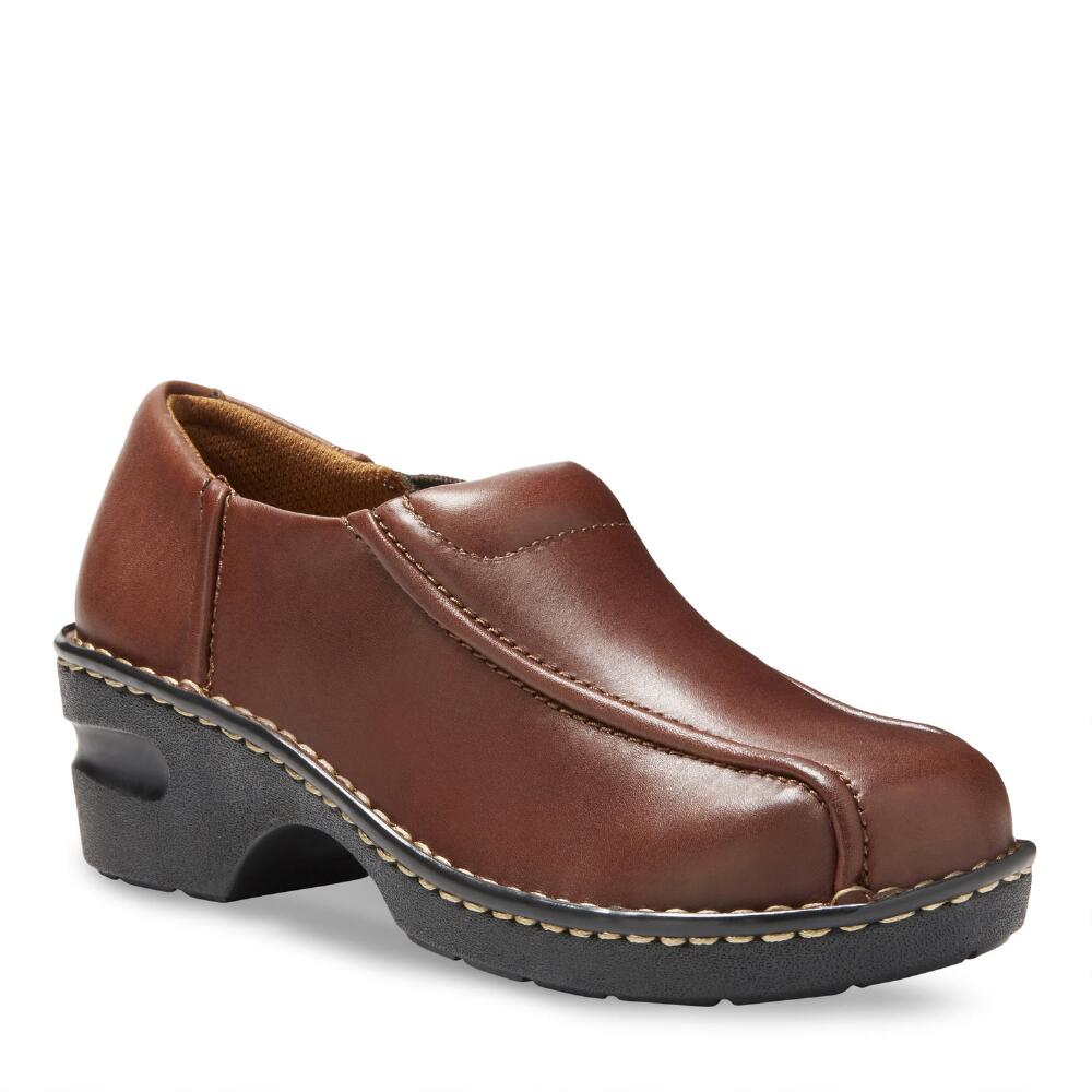 Women's Tracie Slip On large outside sole overhead pair Shown in Brown Black Brown