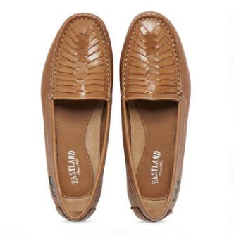 The Debora slip on loafer features a full-grain leather upper with woven pattern detail