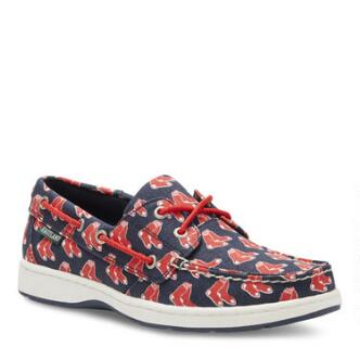 Women's Summer MLB Boston Red Sox Canvas Boat Shoe